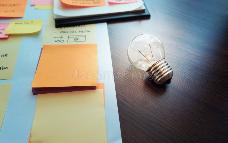 Bombilla en la tabla con papeleo conceptos de la creatividad comercialización fotografía de archivo libre de regalías