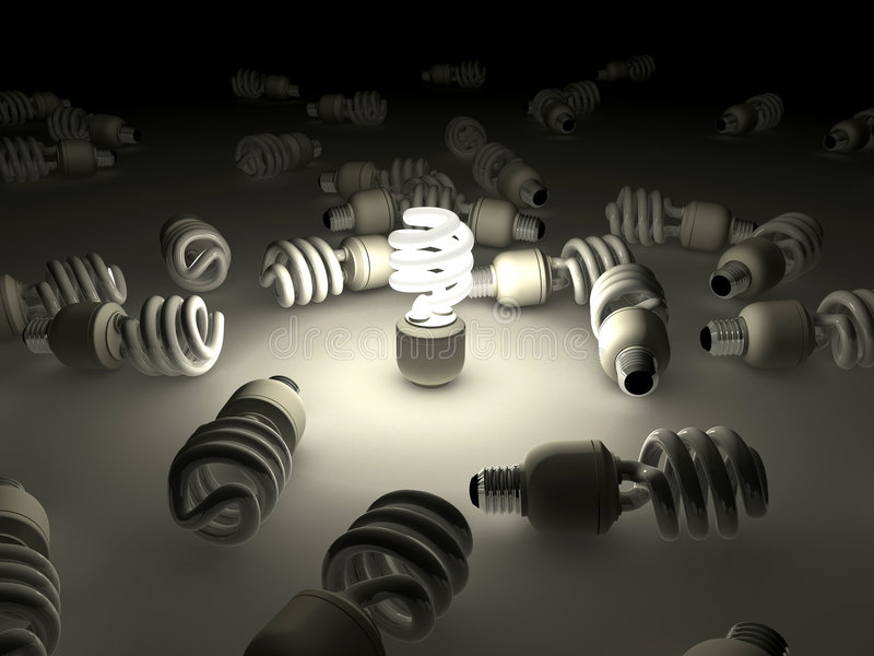 Bombilla fluorescente compacta ilustración del vector