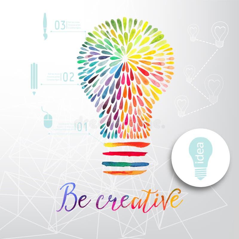 Bombilla hecha de la acuarela, de la bombilla y de los iconos creativos, concepto creativo de la acuarela Concepto del vector - c stock de ilustración