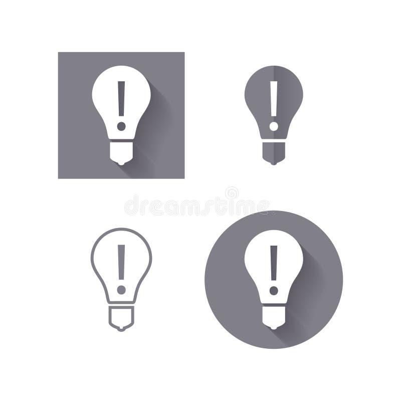 Bombilla, icono de la atención para la interfaz de usuario ilustración del vector