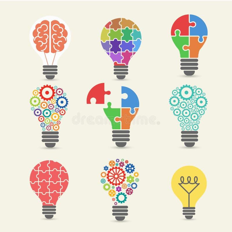 Bombilla - idea, creativa, iconos de la tecnología fijados stock de ilustración