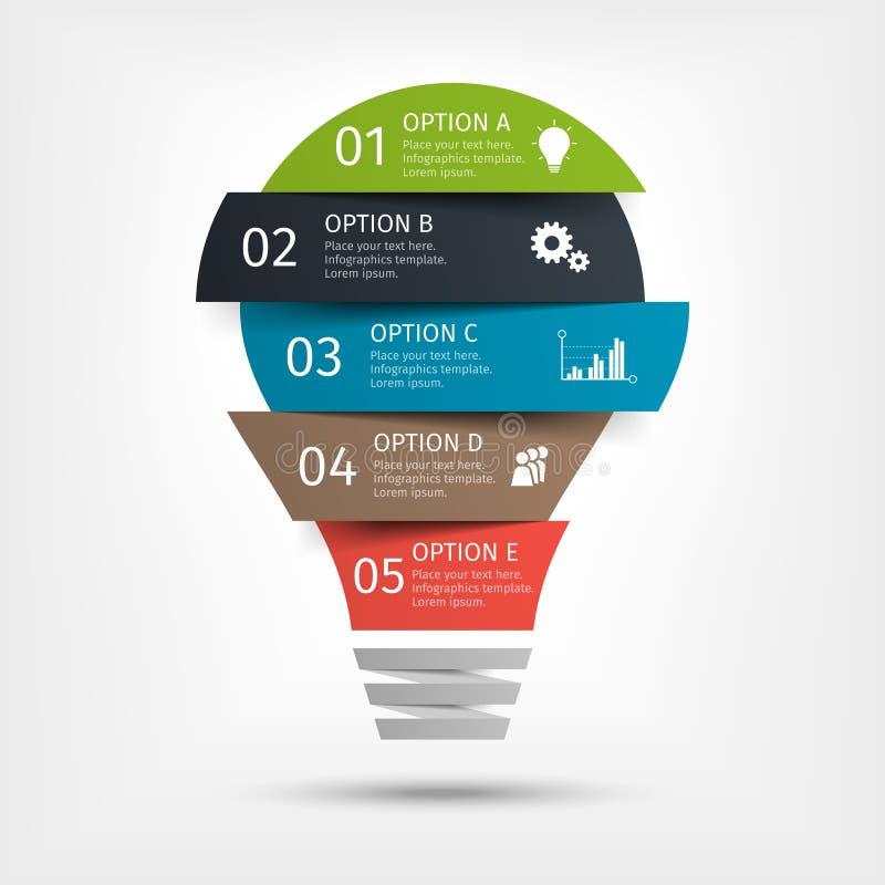 Bombilla moderna infographic, 5 opciones Plantilla para la presentación, carta, gráfico stock de ilustración