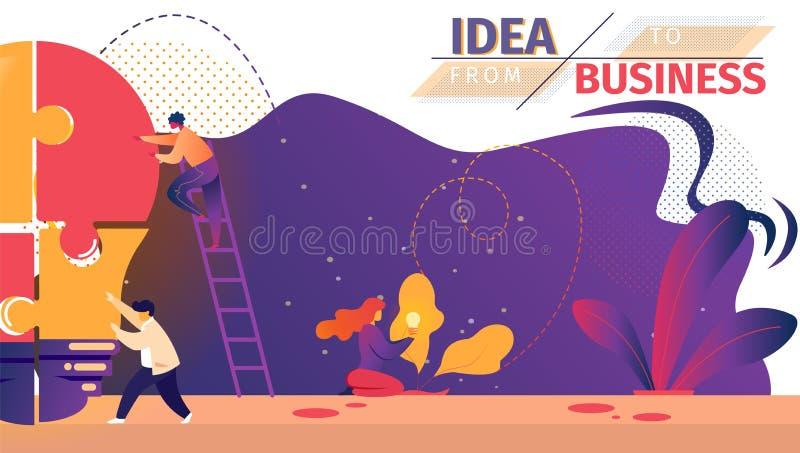Bombilla puesta de proceso del trabajo en equipo de los empresarios stock de ilustración