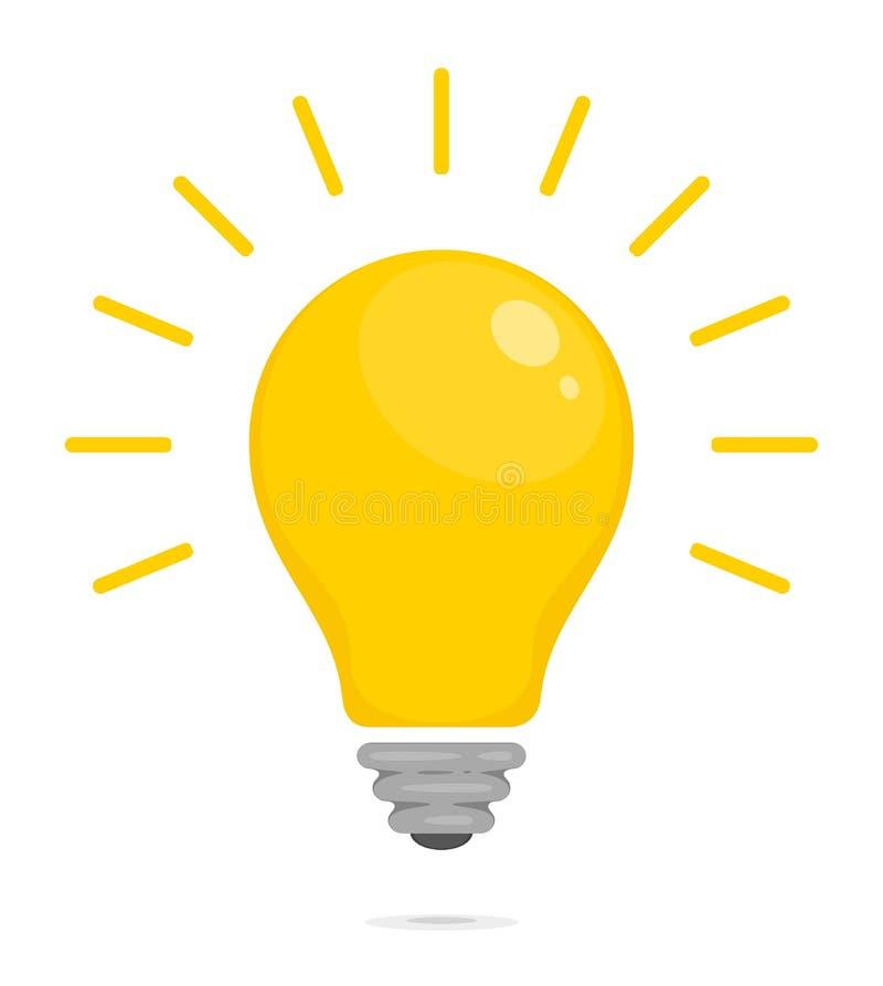 Bombilla que brilla intensamente amarilla Símbolo de la energía, de la solución, del pensamiento y de la idea Icono plano del est libre illustration