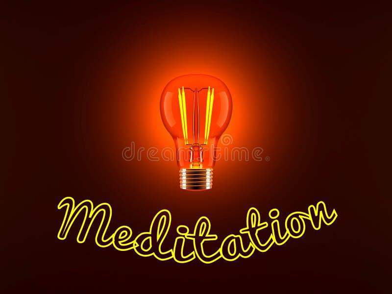 Bombilla y meditación stock de ilustración