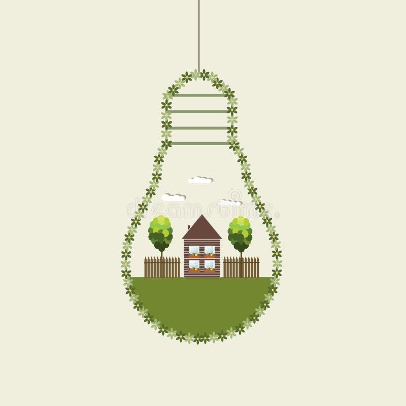 Bombillas abstractas de Eco, hechas de flores con la casa y los árboles de madera ilustración del vector