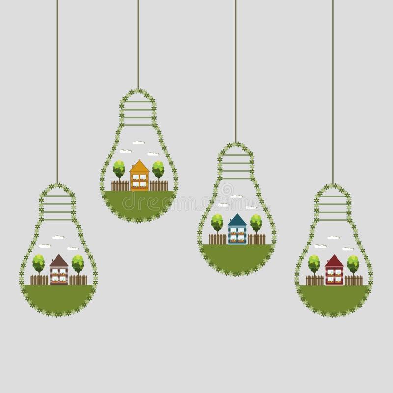 Bombillas abstractas de Eco, hechas de flores con la casa y los árboles de madera stock de ilustración