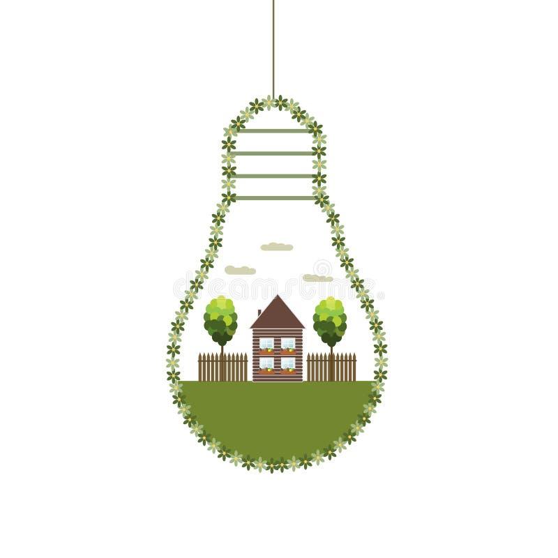 Bombillas abstractas de Eco, hechas de flores con la casa y los árboles de madera Uso de energía eficiente ilustración del vector