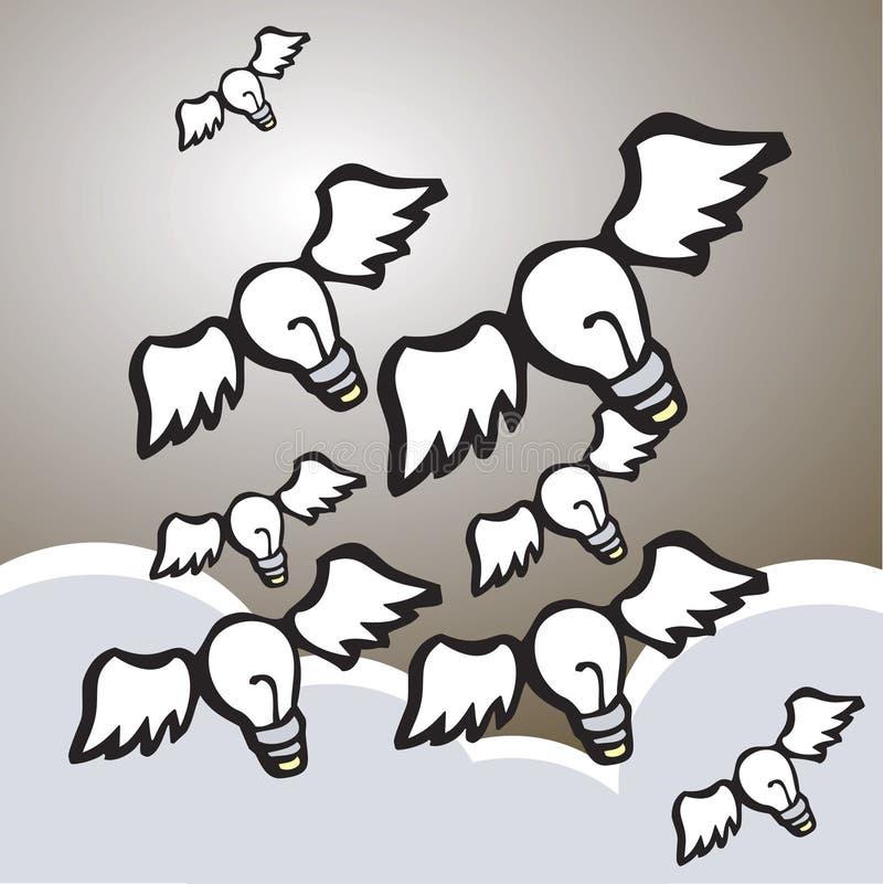 Bombillas coas alas ilustración del vector