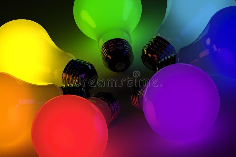 Bombillas coloridas stock de ilustración