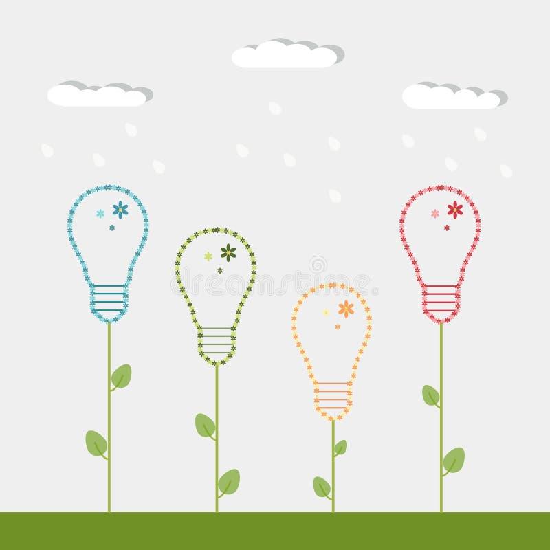 Bombillas coloridas hechas de flores, con las nubes y la lluvia, concepto ahorro de energía libre illustration