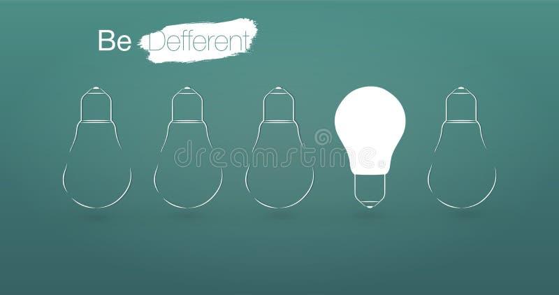 Bombillas con que brillan intensamente una diversa idea en fondo azul claro, stock de ilustración