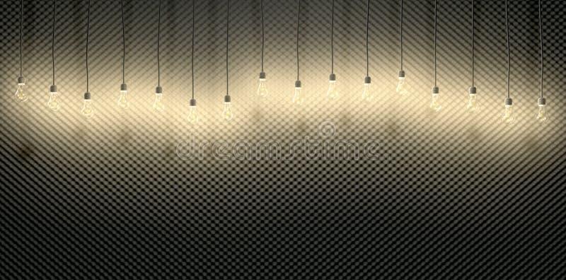Bombillas contra espuma acústica ilustración del vector
