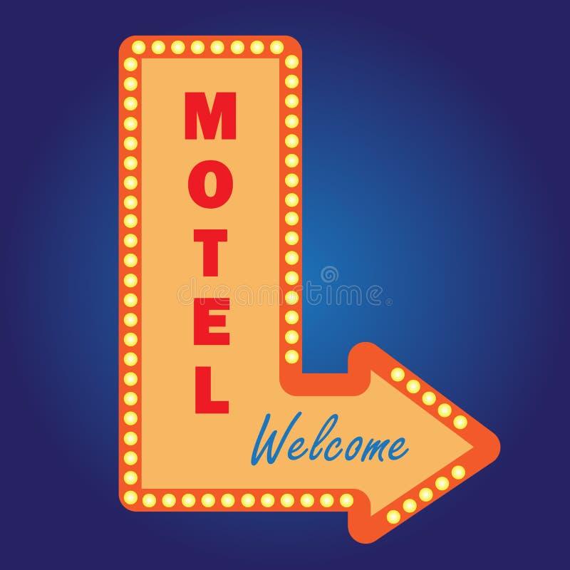 Bombillas del vintage del signwith de neón del motel libre illustration