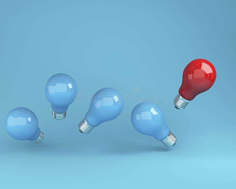 Bombillas excepcionales rojas en aire una diversa idea de las otras en fondo azul foto de archivo libre de regalías
