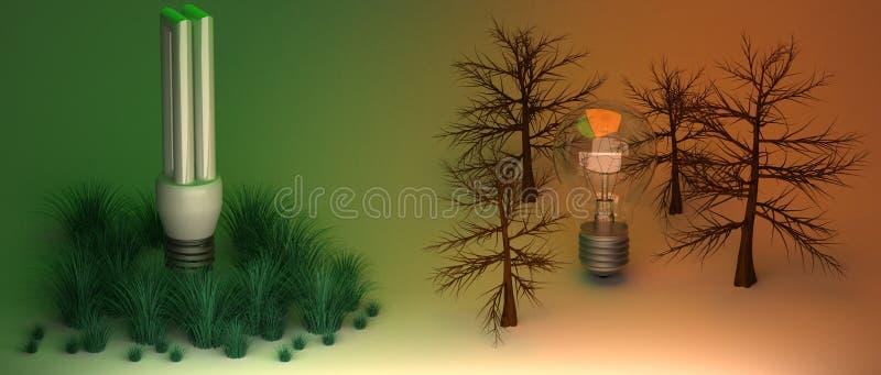 Bombillas y ambiente stock de ilustración