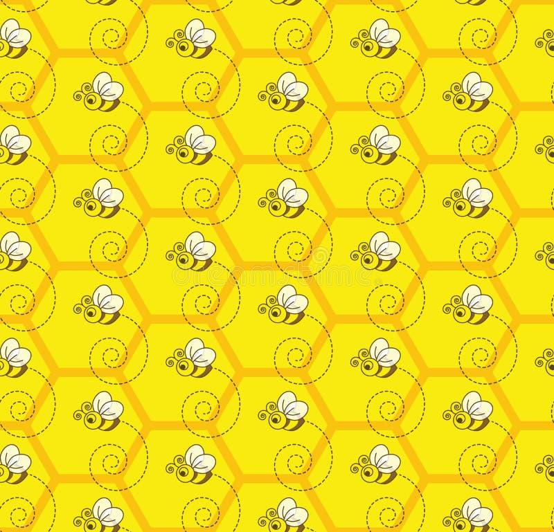 Bombo Honey Colony Seamless Pattern Background illustrazione vettoriale