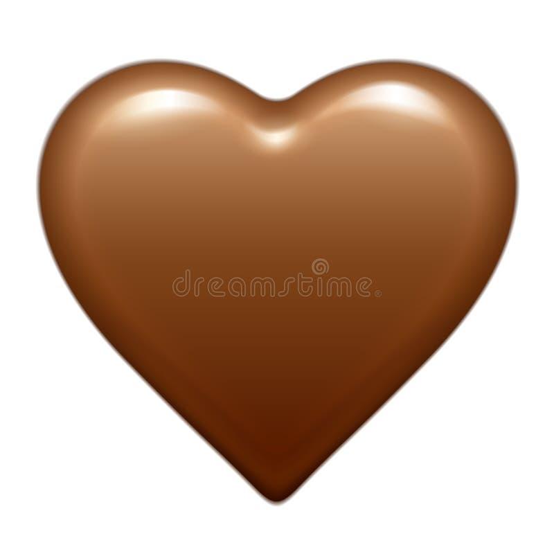Bombom lustroso marrom do coração do chocolate do vetor Isolado no fundo branco ilustração royalty free