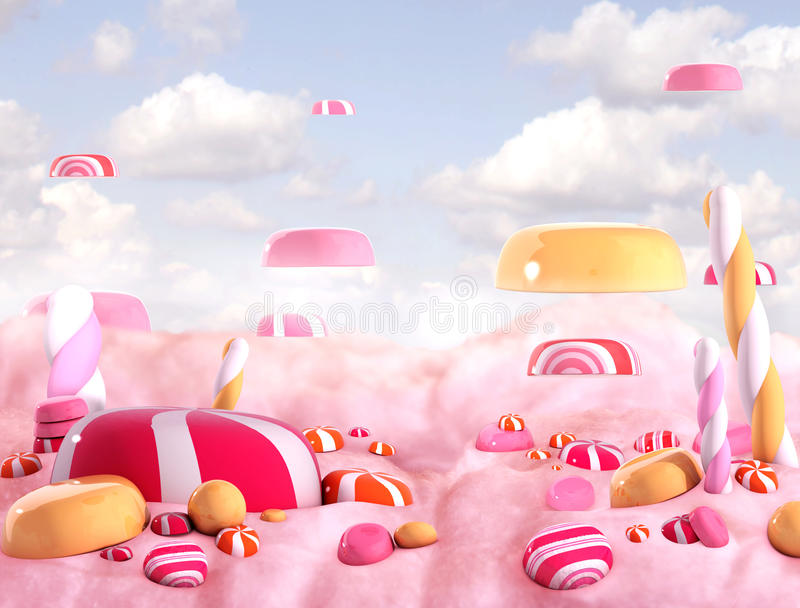 Bombons da terra dos doces ilustração stock