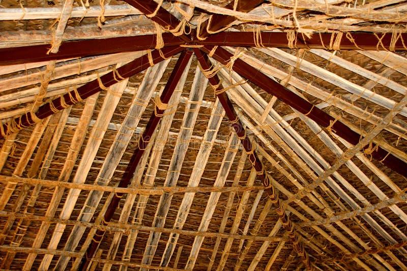Bomboo Roof at Madhuvana, Bengaluru. View of inner roof covered with bamboo strip supports at Madhuvana village park near Bengaluru in Karnataka, India, Asia stock photos