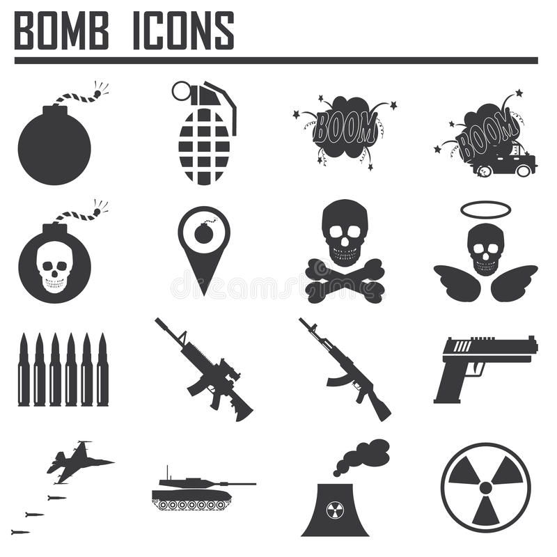 Bombowa ikona, broń ilustracji