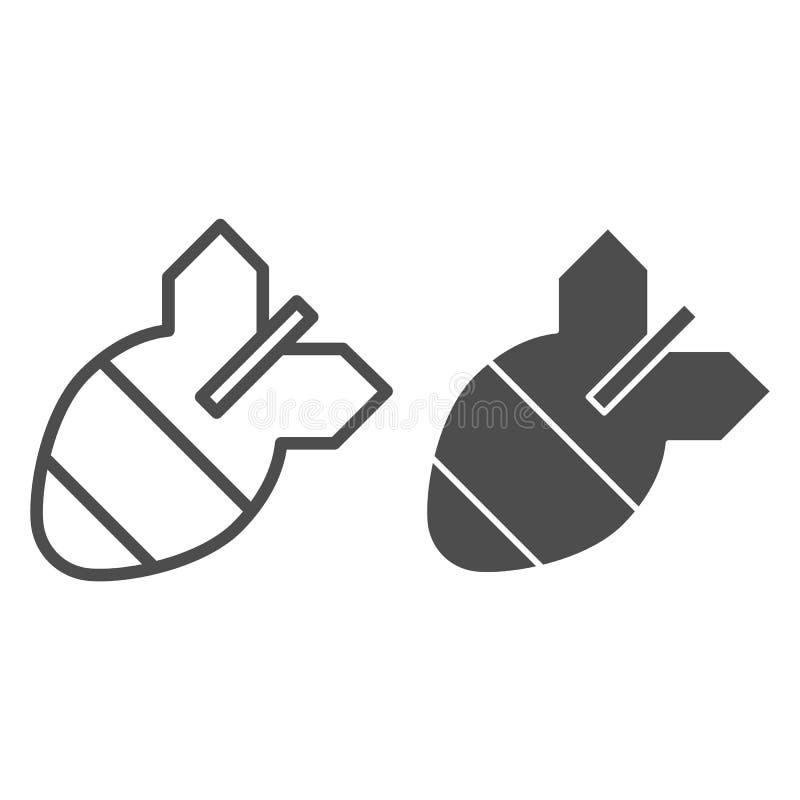 Bombowa linia i glif ikona Lotnicza bombowa wektorowa ilustracja odizolowywająca na bielu Pociska konturu stylu projekt, projektu ilustracja wektor