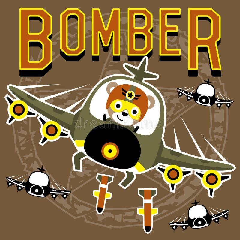 Bombowiec kreskówki wektor z śmiesznym pilotem royalty ilustracja