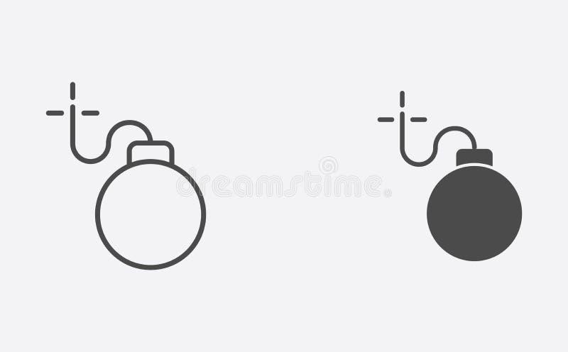 Bombowy kontur i wypełniający wektorowy ikona znaka symbol ilustracji