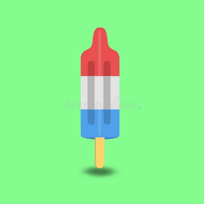 Bombowy Popsicle, czerwień, błękitny i biały na kiju, ilustracja wektor