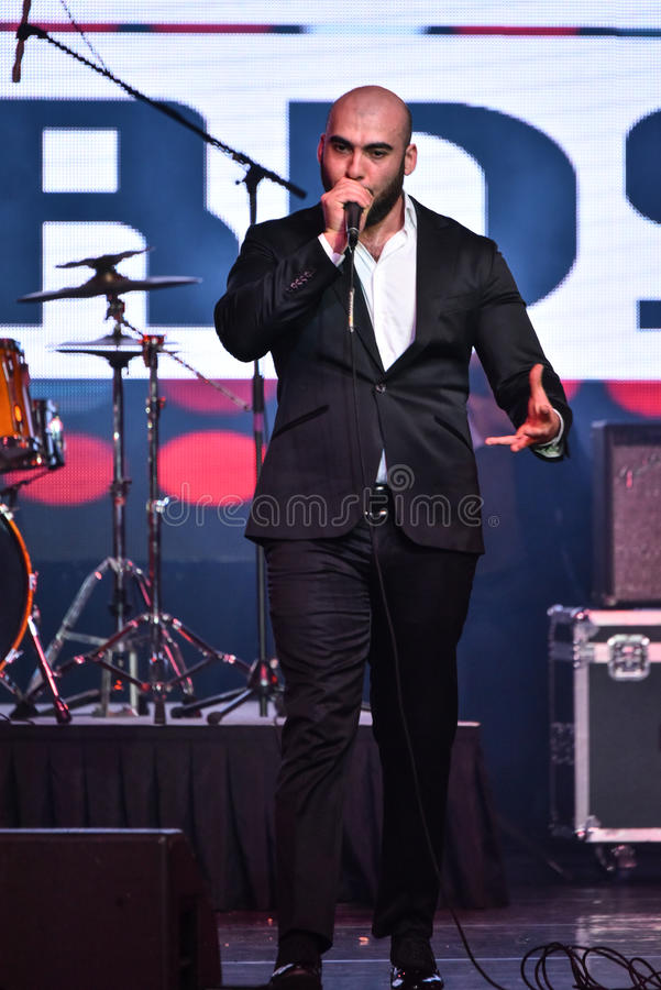 Bombox singer Vahtang Kalandadze performing on stage during the Big Apple Music Awards 2016 Concert. NEW YORK, NY - NOVEMBER 27: Bombox singer Vahtang Kalandadze stock images