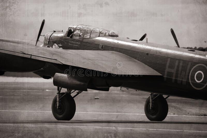 bombplan lancaster royaltyfri foto