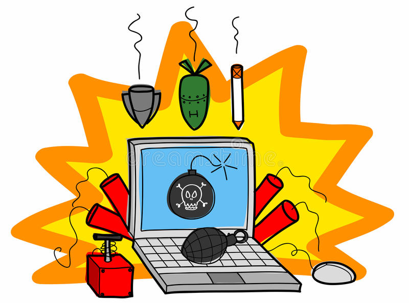 Bombs on computer royalty free illustration