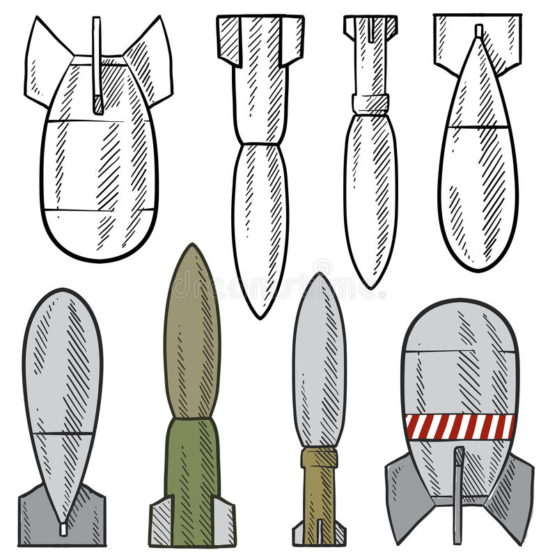Bombs And Shells Vector Set Stock Photo