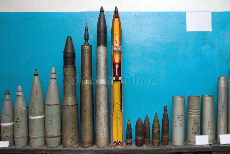 Bombs and torpedoes. In military soviet bunker. Korosten. Ukraine stock photography