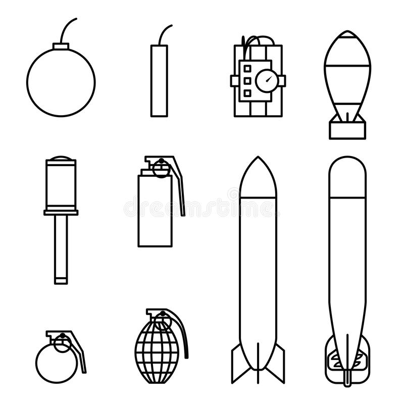 Bomby i pociska ikon konturu uderzenia set royalty ilustracja