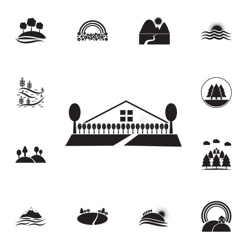 bomen bij de omheining van het huispictogram Gedetailleerde reeks landschappenpictogrammen Premie grafisch ontwerp Één van de inz royalty-vrije illustratie