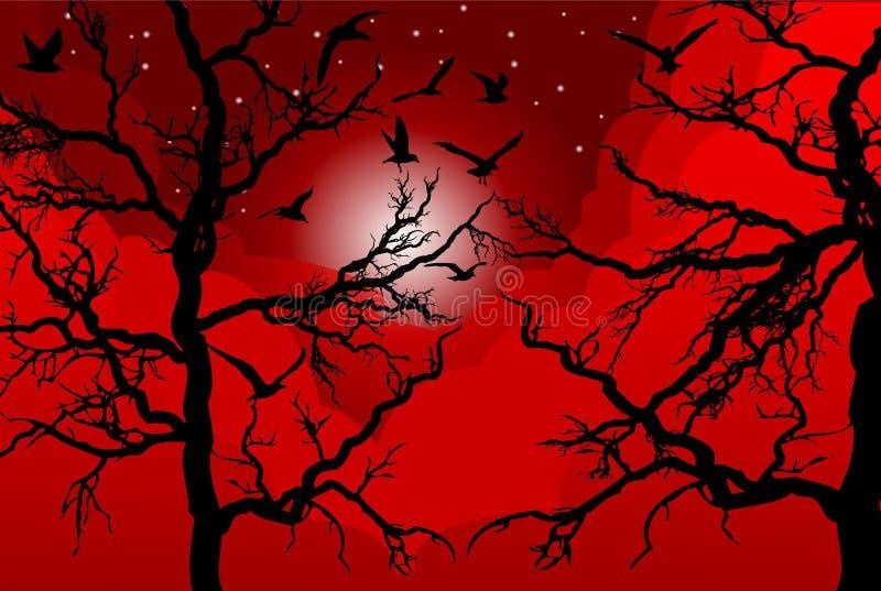 Bomen bij zonsondergang royalty-vrije illustratie