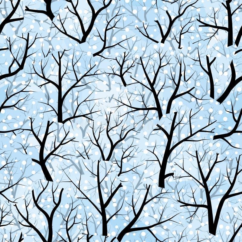 Bomen. De winter (naadloos vectorbehang) stock illustratie
