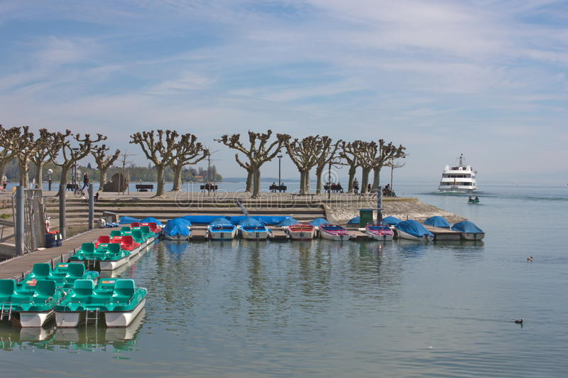 Bomen dichtbij het Boden-Meer stock afbeelding