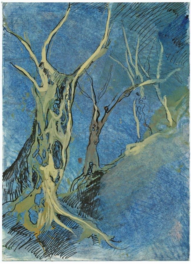 Bomen, die beeld trekken stock illustratie