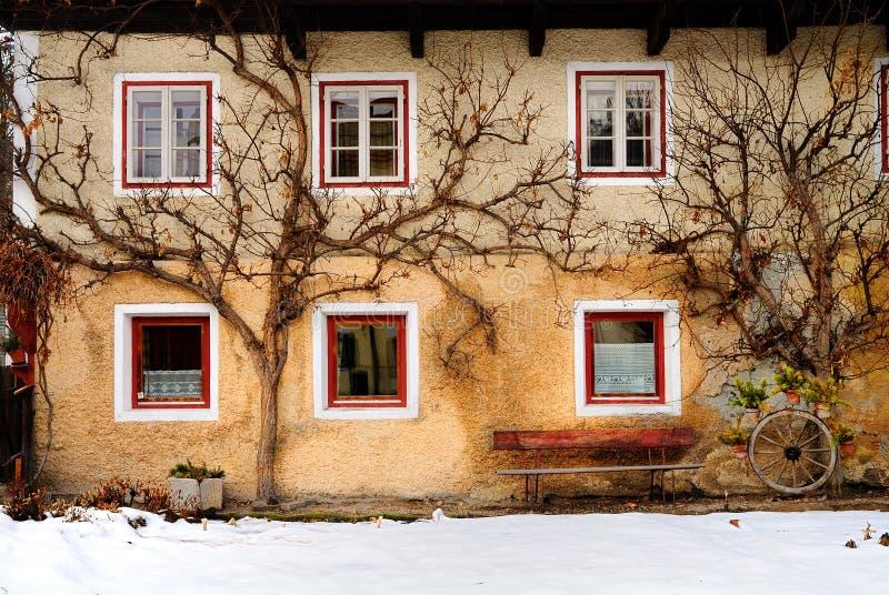 Bomen door kant van Italiaans huis stock afbeeldingen