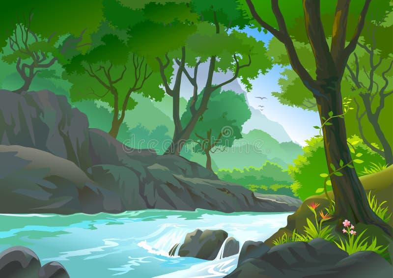 Bomen door rivieroeverHeuvels en vegetataion vector illustratie