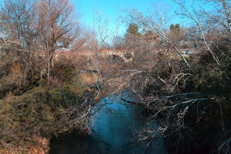 Bomen, een oude steenbrug, over het blauwe water van a stock fotografie