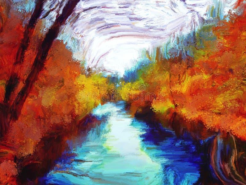 Bomen en de herfst van het meerolieverfschilderij royalty-vrije stock afbeelding