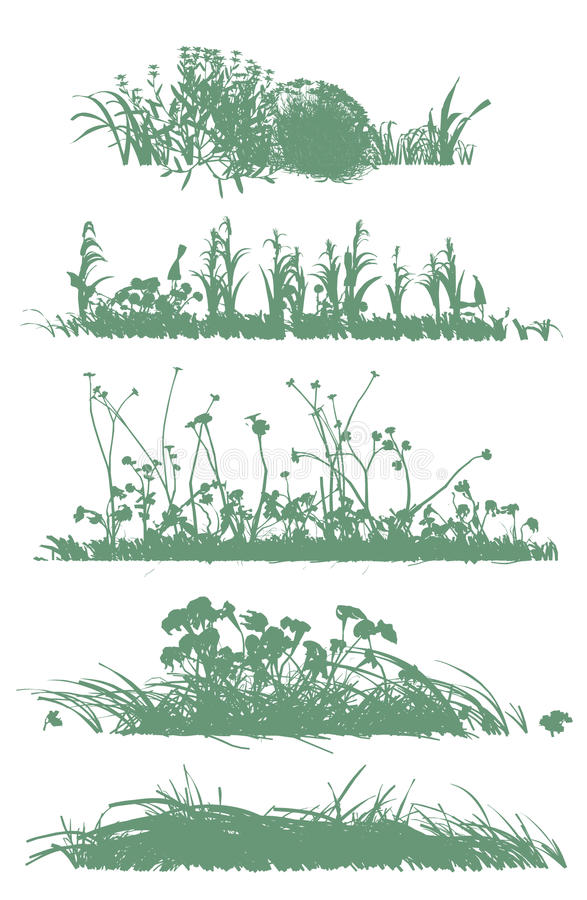 Bomen en grassilhouetten royalty-vrije illustratie