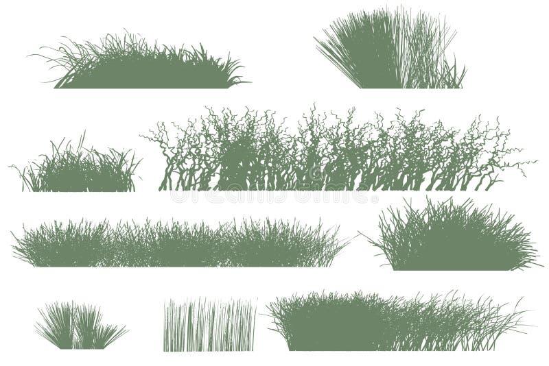 bomen en grassilhouetten stock illustratie