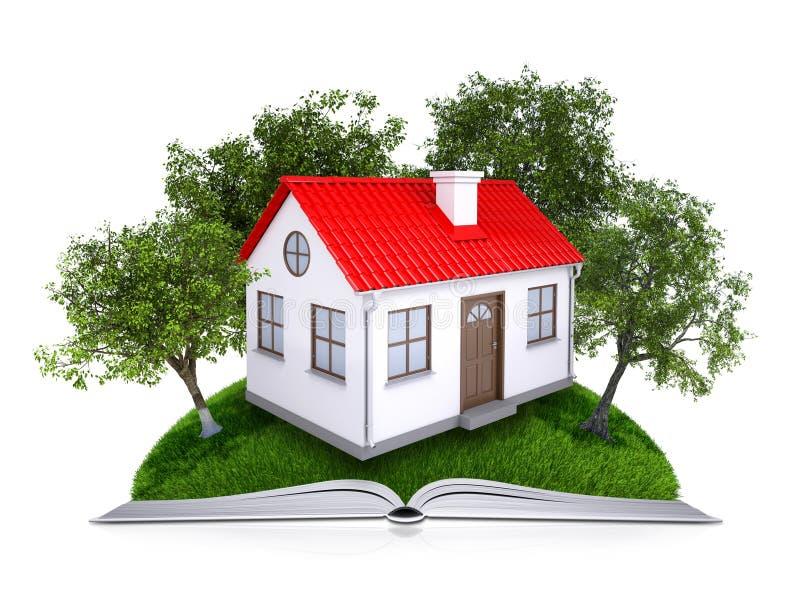 Bomen en huis op het open boek stock fotografie