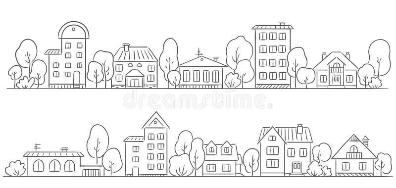 Bomen en huizen op een rij voor uw kader royalty-vrije illustratie