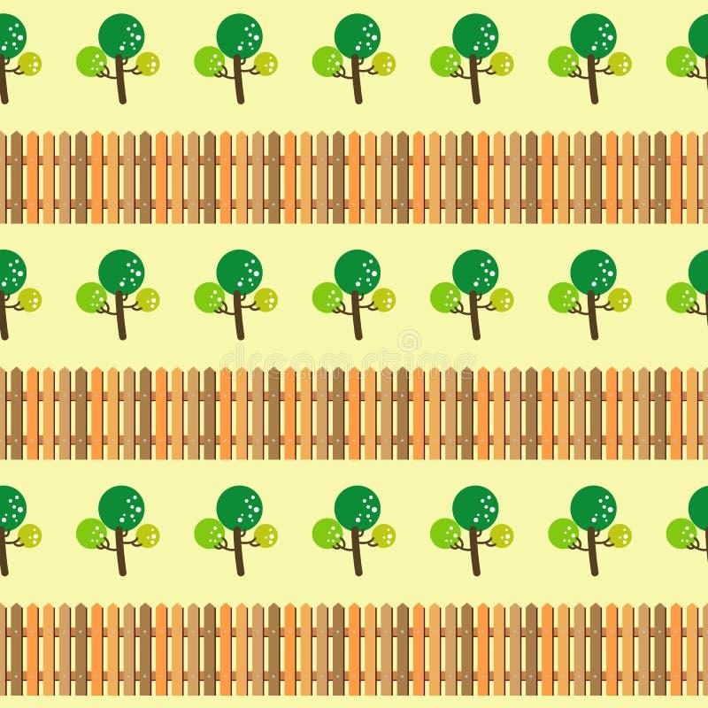 Bomen en omheinings naadloos patroon vector illustratie