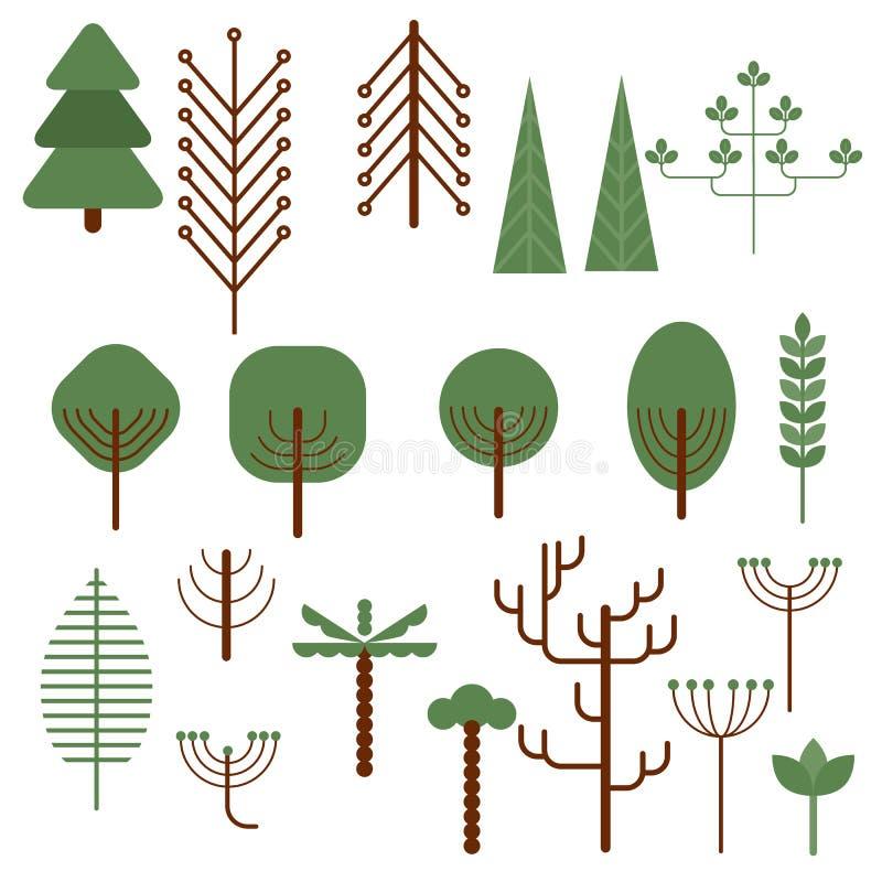 Bomen en struiken vector illustratie